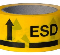 Клейкая лента желтого цвета с маркировкой ESD A-7418
